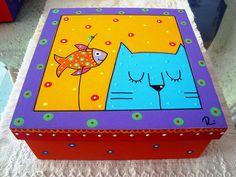 para pintar banquetas,cajas,cuadros,etc. en mdf Painted Pavers, Painted Chairs, Cat Crafts, Diy And Crafts, Paper Crafts, Tole Painting, Painting On Wood, Funky Furniture, Painted Furniture