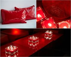Sleek Red Vinyl Bat Mitzvah Lounge with Candles {Photo by 5th Avenue Digital} - mazelmoments.com