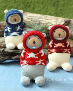 Sewing Toys sock beaver - Sew cute sock beaver, Bob, with hoodie sweater, hood can be taken down. Bob is tall sewn from chenille sock set. Sewing Patterns Free, Free Sewing, Doll Patterns, Bear Patterns, Clothes Patterns, Free Pattern, Diy Sock Toys, Sock Crafts, Sewing Stuffed Animals