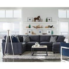 Rowe My Style I U0026 II Transitional Sectional Sofa With Track Arms  Transitional Sectional Sofas,