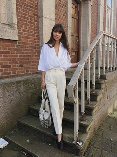 f8a5efa2d8b9a2 White blouse with cream pants. summer style  minimal  fashion  ootd All  White