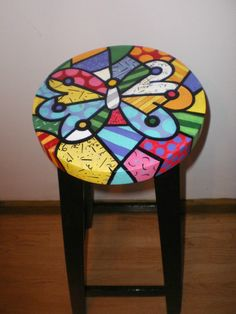 Romero Britto Art painted on stool/chair Whimsical Painted Furniture, Hand Painted Furniture, Funky Furniture, Art Furniture, Repurposed Furniture, Furniture Makeover, Painted Stools, Funky Chairs, Painting On Wood