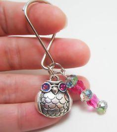 Pink and Silver Owl Charm Keychain Swarovski by WhispySnowAngel, $9.99