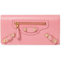 Balenciaga Women's Giant Money Leather Continental Wallet - Pink ($469) ❤ liked on Polyvore featuring bags, wallets, pink, balenciaga, real leather wallets, pink wallet, leather wallets and snap wallet