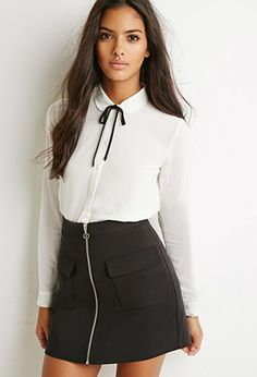 Tie-Neck Boxy Shirt | Forever 21 - 2000173284