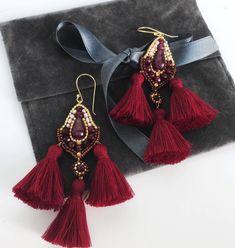 Tassel earrings burgundy https://www.etsy.com/listing/399835345/ #valentinesday