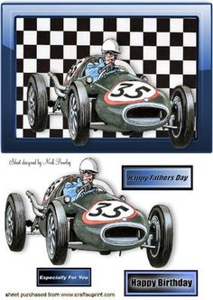 1958 COOPER CLIMAX SPORTS RACING CAR on Craftsuprint designed by Nick Bowley - 1958 COOPER CLIMAX SPORTS RACING CAR, A lovely vintage car, for birthday or fathers day, lots of other designs to see - Now available for download!