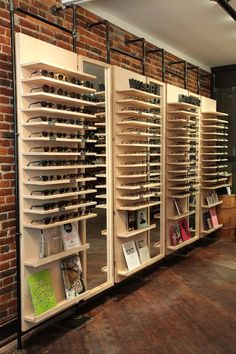 Display at art in the age sunglasses storage, sunglasses shop, optometry of Showroom Design, Shop Interior Design, Optometry Office, Eyewear Shop, Store Layout, Optical Shop, Retail Store Design, Frame Display, Warby Parker