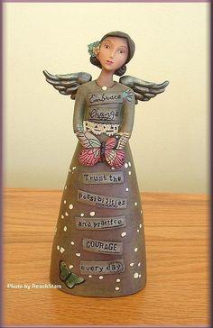 "KELLY RAE ROBERTS EMBRACE CHANGE ANGEL FIGURE 7"" HIGH FREE U.S. SHIPPING #AngelFigure - $30"