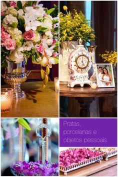 Tendências de cores e decoração de casamentos 2014 - pratas e objetos pessoais    http://www.elo7.com.br/topodebolopassarinho