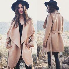 Khaki Belt Asymmetric Long sleeve Coat