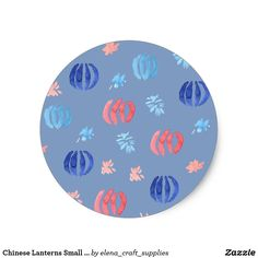 Chinese Lanterns Small Matte Round Sticker
