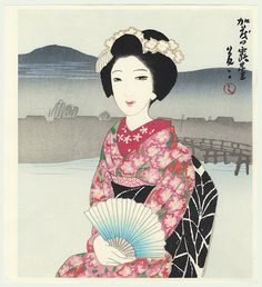 Takehisa Yumeji, Seated Beauty with Fan