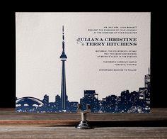 Letterpress Wedding Invitations | Charmed Toronto Design | Bella Figura Letterpress But with Seattle skyline and Mt. Rainier