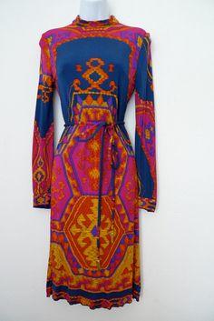 LEONARD 70s richly patterned silk jersey dress