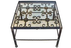 Looking for a wrought iron coffee table like this for the living room but in a rectangle shape.