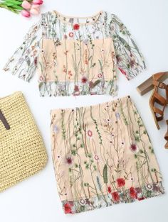 Floral Embroidered See Through Top And A-Line Mini Skirt - Floral S