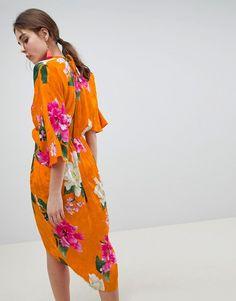 ASOS   ASOS DESIGN Kimono Midi Dress In Bold Floral Jacquard