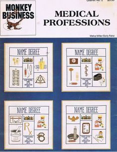 Medical Professions Doctor Nurse Sampler Counted Cross Stitch Embroidery Craft Pattern Leaflet