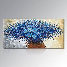 Winpeak Art Hand Painted Abstract Canvas Wall Art Modern Textured Blue  Flower Oil Painting Contemporary Artwork