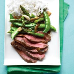 Flank Steak with Snap-Pea and Asparagus Stir-Fry Recipe | Food Recipes - Yahoo! Shine