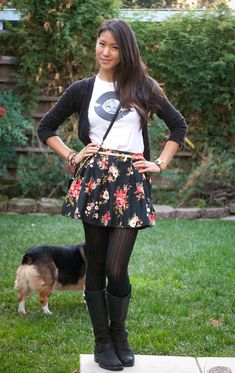Floral Skirt and Boots outfit...just wouldn't wear the tshirt it throws it off for me