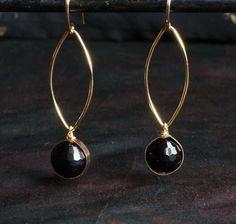 Black Tourmaline Earrings in Gold or Niobium by HiBackyardRose
