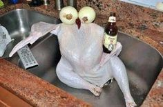 Beer thirty Thanksgiving day :) Love this one. Can't say I've ever served turkey this way.