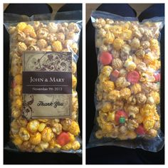 My bridal shower favors that I'm obsessed with! from my moms friend specialty popcorn store :) #fallwedding #favors #fall #wedding