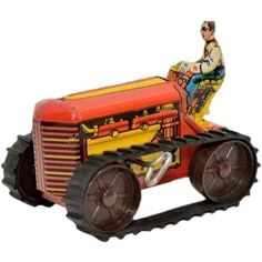 Marx Midget Tractor with Brake and Rubber Tread Metal Toys, Tin Toys, Antique Toys, Vintage Toys, Doll Toys, Dolls, Collectible Toys, Toy 2, Baby Rattle
