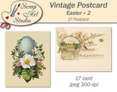 Printable vintage art Easter postcard eggs flower spring decor unusual gift congratulation watercolour art printable card vintage design