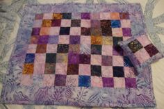 Doll Size Quilt with Pillow or Table Topper in Batiks CUSTOM ORDER Would you like a doll size quilt and matching pillow for a gift? This one is