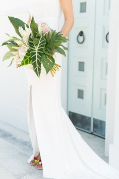 Wedding Bouquets Modern Tropical Vero Beach Wedding - The hair! The bouquet! The SHOES! Ranunculus Wedding Bouquet, Protea Wedding, Beach Wedding Bouquets, Beach Wedding Reception, Beach Wedding Decorations, Bridesmaid Bouquet, Wedding Flowers, Wedding Dresses, Bridal Bouquets