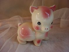 Vtg Happy Pig Figurine 4 inches tall Pink and Ivory Ceramic Oversized Head