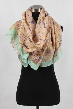 Zealous Sparrow Print Scarf With Border  Peach & Pastel Green 100% Viscose