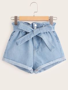 Shop Paperbag Waist Belted Cuffed Denim Shorts at ROMWE, discover more fashion styles online. Girls Fashion Clothes, Teen Fashion Outfits, Girl Fashion, Paris Fashion, Crop Top Outfits, Short Outfits, Trendy Outfits, Cute Comfy Outfits, Cute Summer Outfits