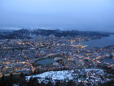 Bergen at dusk.