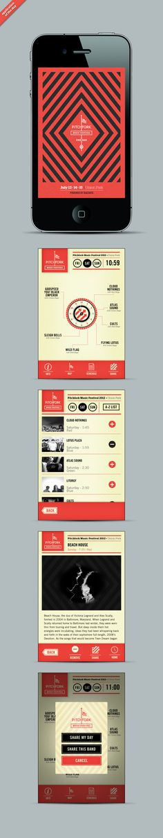 Pitchfork 2012 By Squnch #UI #Mobile #UserInterface #Design