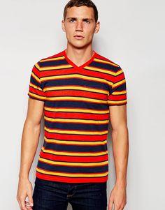 De fedeste Hollister T-Shirt with Multi Stripe V Neck - Red Hollister T-Shirts & Veste til Herrer i behageligt materiale