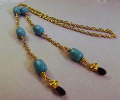 Granos de la turquesa azules y cadena de oro ojo de por TamsJewelry, $21.99