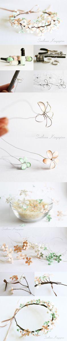 Spring flowers or second life of nail polish. http://www.livemaster.ru/topic/268763-venok-iz-vesennih-tsvetov-ili-vtoraya-zhizn-lakov-dlya-nogtej