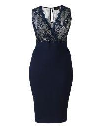 AX Paris Plunge Neck Lace Midi Dress