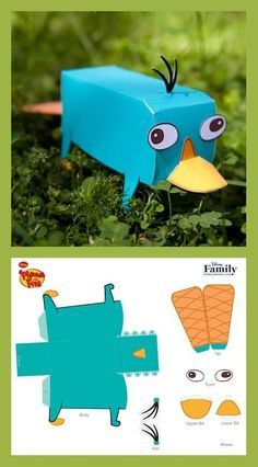 Perry the Platypus can join in on your adventures when you construct this cool papercraft. Anime Crafts, Paper Crafts Origami, Diy Paper, Paper Gifts, Crafts To Do, Crafts For Kids, Phineas Et Ferb, Instruções Origami, Origami Lamp