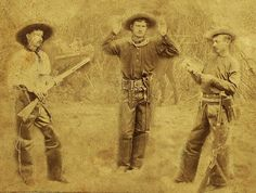 """From Adam Smith via Traces of Texas. It shows three Rangers, as they would be dressed looking for Sam Bass. This is an etching from pg. 378 of """"The Texas Rangers"""" by Walter Prescott Webb., published in 1930. It was also made into an engraving which was in local papers about the hunt for Sam Bass.    Junius Travis Peak, the City Marshal of Dallas from 1874-78 and Captain of the Frontier Battalion of the Texas Rangers, is pictured on the right. He was charged with hunting Bass down."""