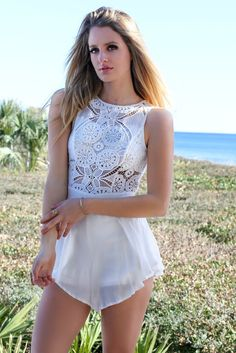 See-through Sleeveless Lace Patchwork Short Dress
