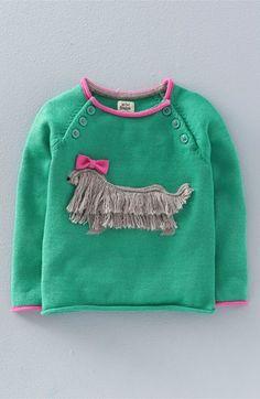 Mini Boden 'Fun Pet' Appliqué Sweater (Toddler Girls, Little Girls & Big Girls) Toddler Cardigan, Baby Girl Cardigans, Baby Sweaters, Girls Sweaters, Mini Boden, Pullover Shirt, Baby Pullover, Baby Outfits, Kids Outfits
