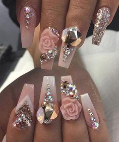 55 beautiful nail art designs for coffin nails 38 Glam Nails, Hot Nails, Bling Nails, Beauty Nails, Nude Nails, Cateye Nails, Rhinestone Nails, Stiletto Nails, Glitter Nails