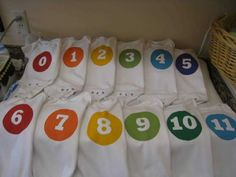 Monthly onesies (for pictures!) using freezer paper stencil. Cute baby shower gift.