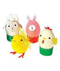 Egg Decorating Kit: Transform eggs into bunny and chick characters with colored crepe paper, feather embellishments, and cut-out ears, noses, and beaks.