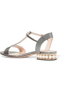 Nicholas Kirkwood - Casati Embellished Metallic Patent-leather Sandals - Silver - IT35.5